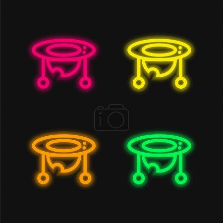 Baby Walker vier Farben leuchtenden Neon-Vektor-Symbol