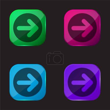 Illustration pour Flèche pointant à droite dans un cercle quatre icône de bouton en verre de couleur - image libre de droit