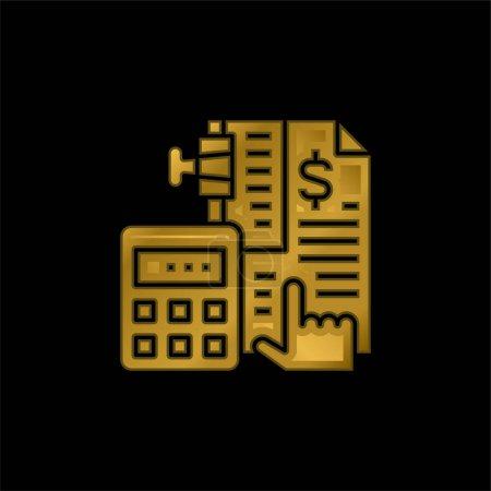 Illustration pour Comptabilité plaqué or icône métallique ou logo vecteur - image libre de droit