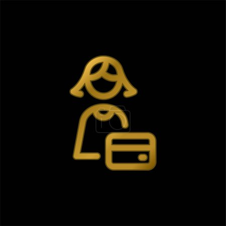 Illustration for Bank Worker gold plated metalic icon or logo vector - Royalty Free Image