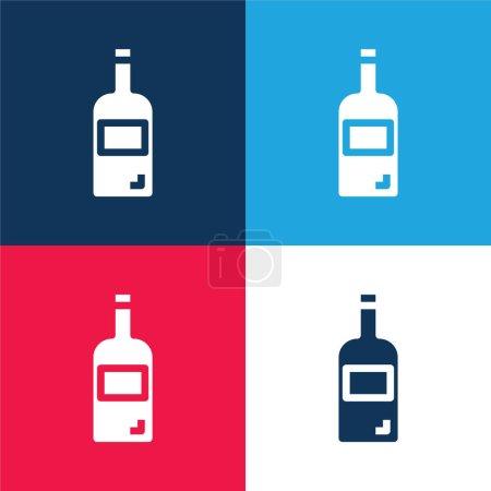 Illustration pour Bouteille bleu et rouge quatre couleurs minimum icône ensemble - image libre de droit