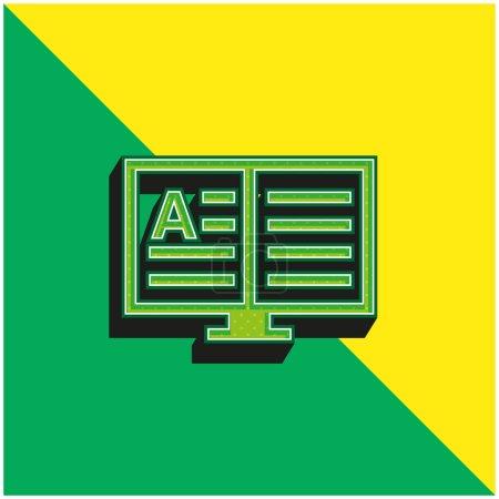 Book Green and yellow modern 3d vector icon logo