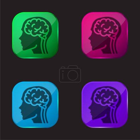 Illustration pour Cerveau icône de bouton en verre de quatre couleurs - image libre de droit