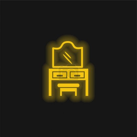 Bedroom Mirror On Drawers With A Seat yellow glowing neon icon