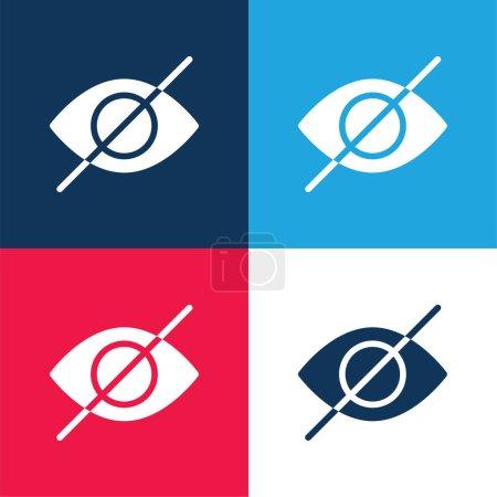 Illustration pour Aveugle bleu et rouge quatre couleurs minimum jeu d'icônes - image libre de droit