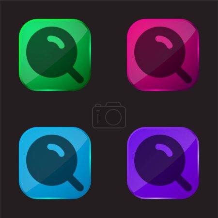 Illustration pour Grosse loupe avec icône de bouton en verre de quatre couleurs brillantes - image libre de droit