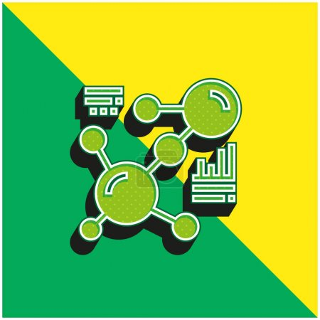 Illustration for Biology Green and yellow modern 3d vector icon logo - Royalty Free Image