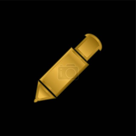 Illustration for Big Mechanical Pen gold plated metalic icon or logo vector - Royalty Free Image