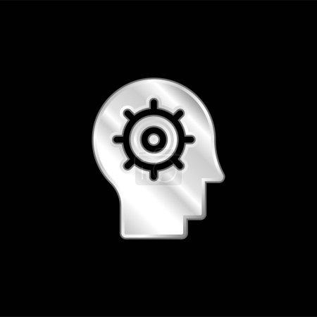 Illustration pour Icône métallique argentée Intelligence Artificielle - image libre de droit