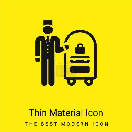 Photo pour Icône matérielle jaune vif minimale Bellboy - image libre de droit