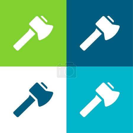 Axe Flat four color minimal icon set