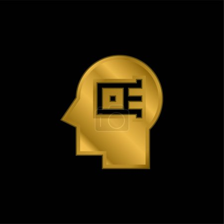 Illustration for Artificial Intelligence gold plated metalic icon or logo vector - Royalty Free Image