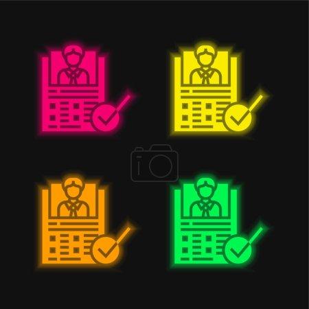 Photo pour Formulaire d'évaluation icône vectorielle néon éclatante de quatre couleurs - image libre de droit