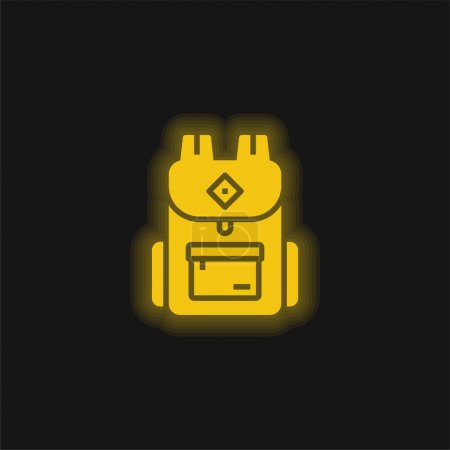 Illustration for Backpack yellow glowing neon icon - Royalty Free Image