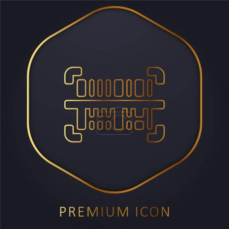 Barcode golden line premium logo or icon