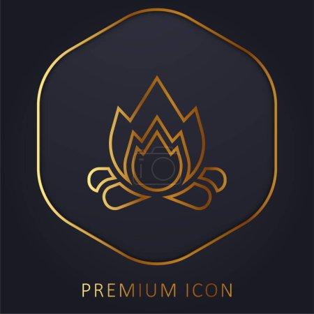 Illustration pour Ligne d'or Bonfire logo premium ou icône - image libre de droit