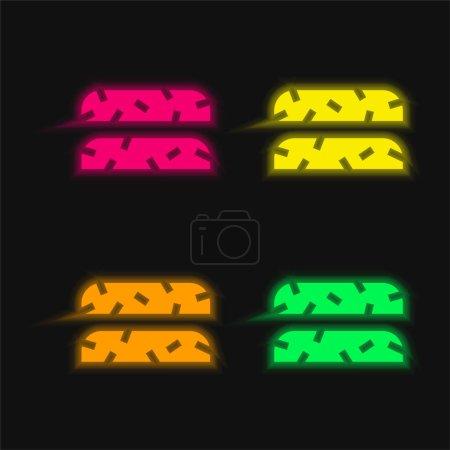 Illustration pour Biscotti icône vectorielle néon éclatante à quatre couleurs - image libre de droit