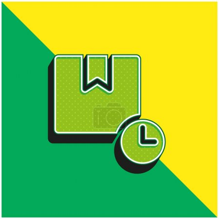Illustration pour Boîte Logo vectoriel 3d moderne vert et jaune - image libre de droit