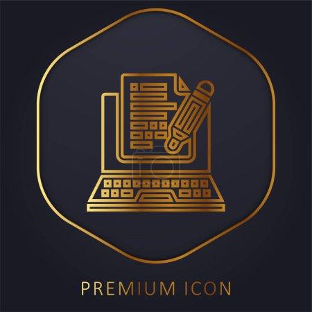 Illustration pour Blog ligne d'or logo premium ou icône - image libre de droit