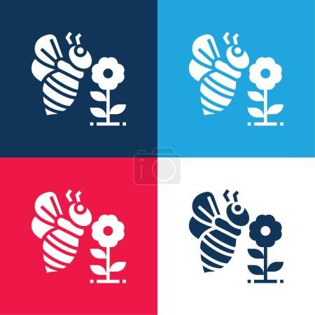 Illustration pour Abeille bleu et rouge quatre couleurs minimum jeu d'icônes - image libre de droit
