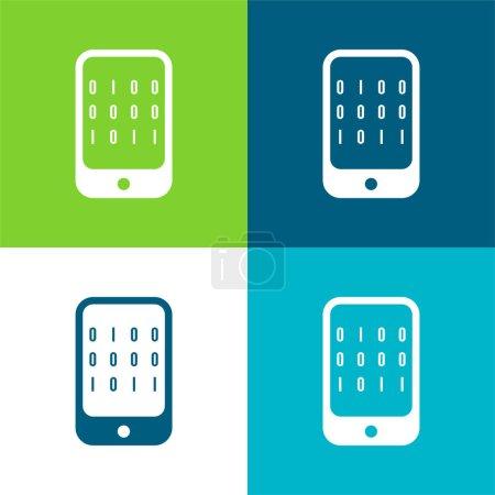 Photo pour Données binaires d'un ordinateur plat quatre couleurs minimum jeu d'icônes - image libre de droit