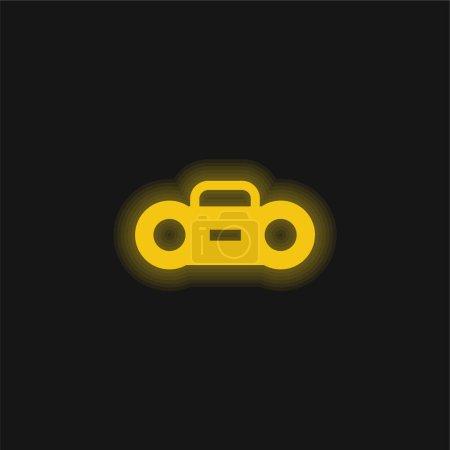 Boombox yellow glowing neon icon