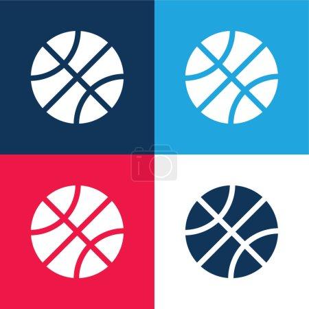 Photo pour Basketball bleu et rouge ensemble d'icônes minimes quatre couleurs - image libre de droit