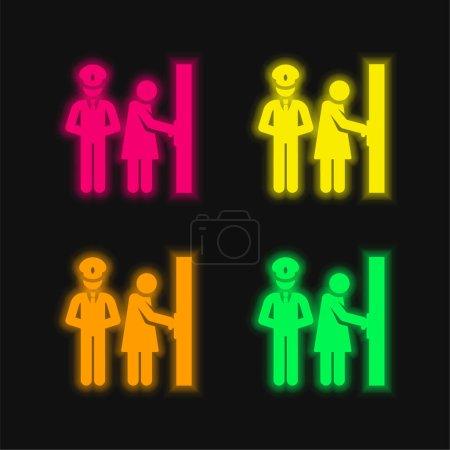 Illustration pour Bodyguard quatre couleurs rougeoyantes icône vectorielle néon - image libre de droit