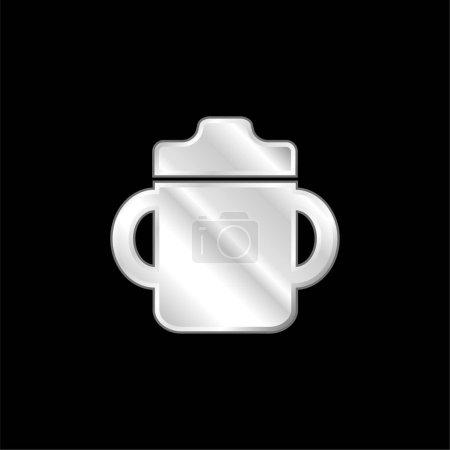 Photo pour Bébé bouteille à boire avec poignée des deux côtés argent plaqué icône métallique - image libre de droit