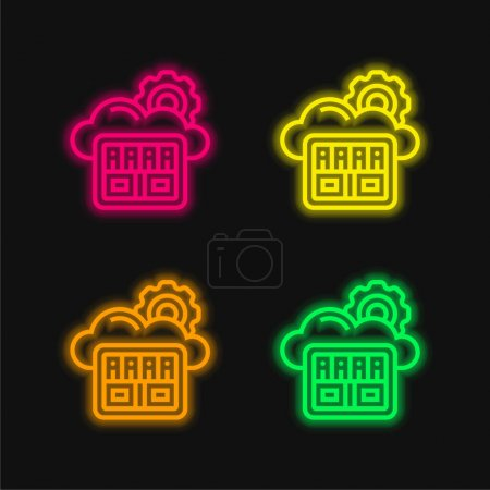 Illustration for Big Data four color glowing neon vector icon - Royalty Free Image