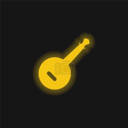 Banjo amarillo brillante icono de neón