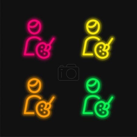 Artist four color glowing neon vector icon