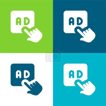 Illustration pour Annonces Ensemble d'icônes minimal plat quatre couleurs - image libre de droit