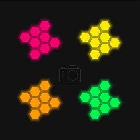 Illustration pour Lien quatre couleur brillant icône vectorielle néon - image libre de droit