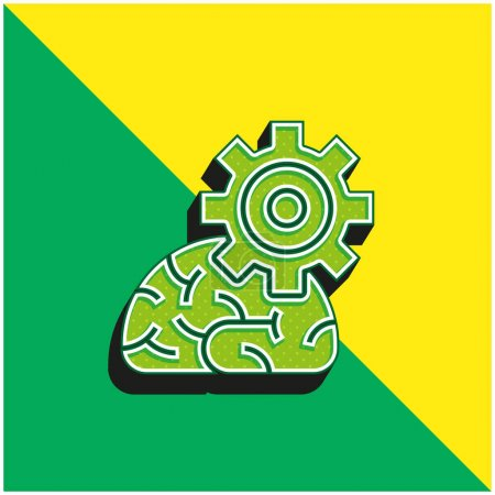 Illustration for Algorithm Green and yellow modern 3d vector icon logo - Royalty Free Image