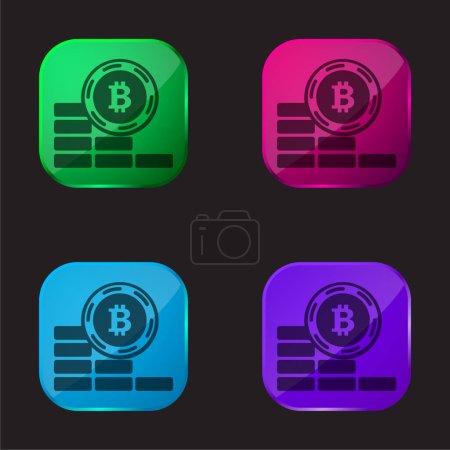 Bitcoin moneta idzie w dół cztery kolory szklane ikona przycisku
