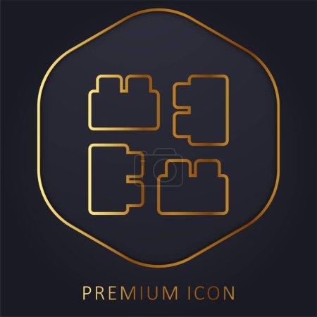 Illustration for Blocks golden line premium logo or icon - Royalty Free Image