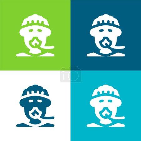 Illustration pour Anesthésie Ensemble d'icônes minimal plat à quatre couleurs - image libre de droit