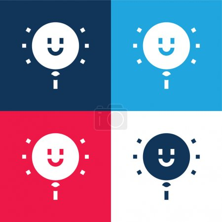 Balloon blue and red four color minimal icon set