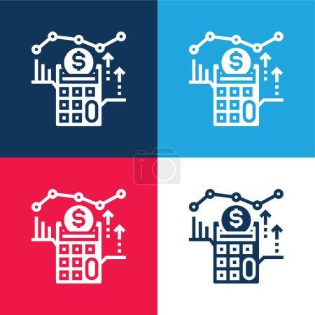 Photo pour Comptabilité bleu et rouge quatre couleurs minimum jeu d'icônes - image libre de droit