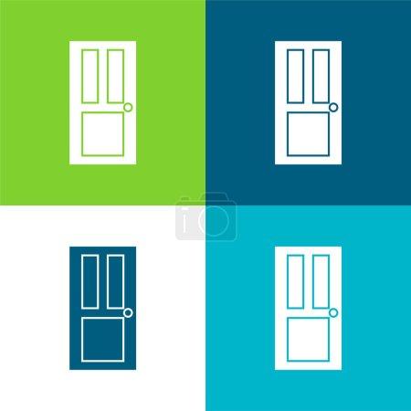 Illustration for Black Door Flat four color minimal icon set - Royalty Free Image