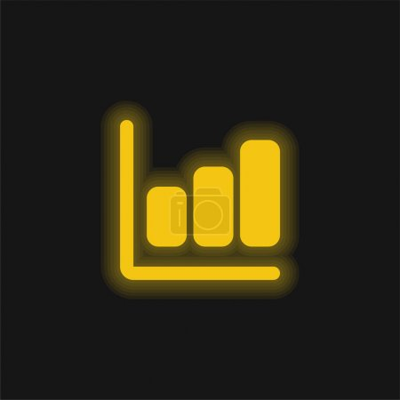 Illustration for Bar Chart yellow glowing neon icon - Royalty Free Image