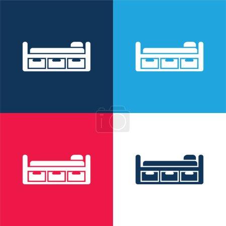 Illustration pour Conception de lit avec trois tiroirs bleu et rouge ensemble d'icône minimale de quatre couleurs - image libre de droit