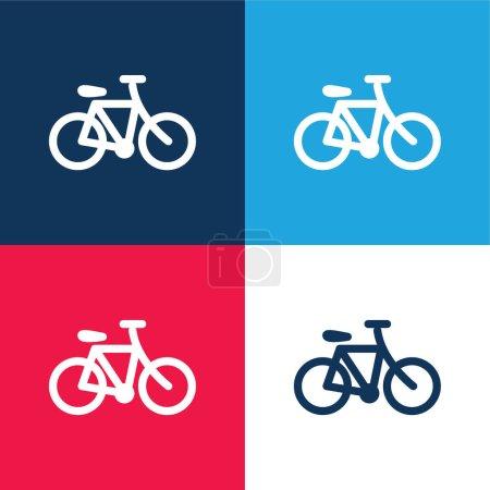 Illustration pour Ensemble d'icônes minime bicyclette bleu et rouge quatre couleurs - image libre de droit