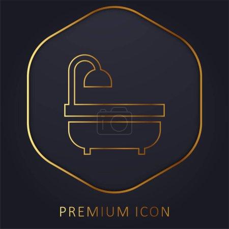 Illustration pour Baignoire ligne dorée logo premium ou icône - image libre de droit
