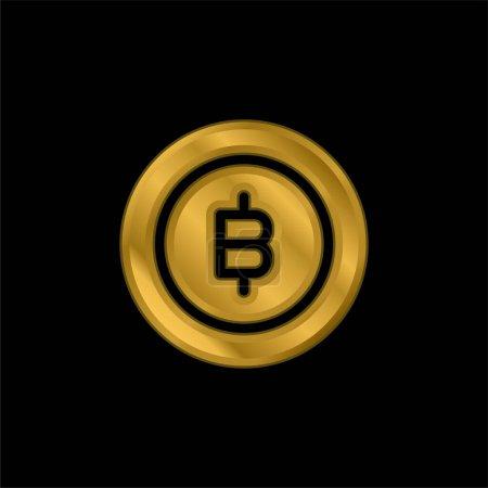 Bitcoin gold plated metalic icon or logo vector