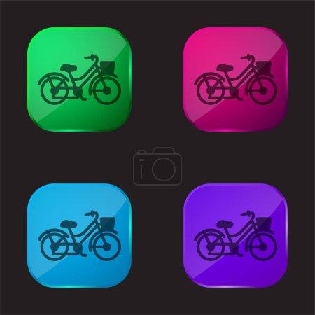 Bike four color glass button icon
