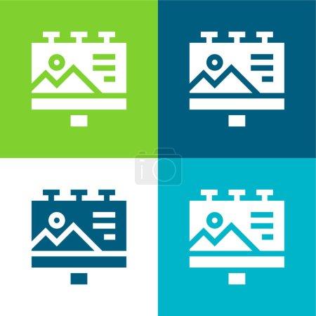Photo pour Panneau d'affichage Ensemble d'icônes minimal plat quatre couleurs - image libre de droit