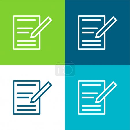 Illustration pour Accord Ensemble d'icônes minimum plat quatre couleurs - image libre de droit