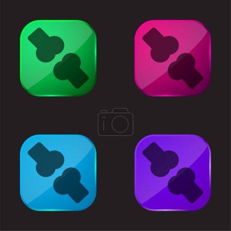 Illustration pour Bone icône de bouton en verre quatre couleurs - image libre de droit